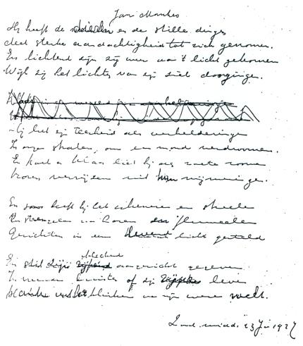 Jan Mankes gedicht Handschrift De Merode