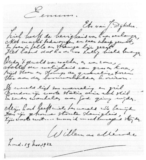 Eenum, gedicht november 1922 - WdM