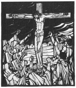 Houtsnede, geïnspireerd op het vers 'Bij het Kruis' van Willem de Mérode, verschenen als bijlage bij Opwaartsche Wegen van april 1927 (jrg. v, nr. 2). Door Dirk Boode