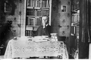 Willem de Mérode op zijn kamer in Uithuizermeeden, Hoofdstraat 190