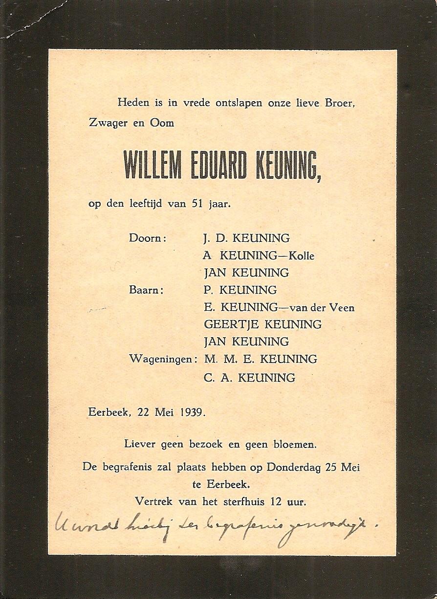 rouwkaart Willem Eduard Keuning
