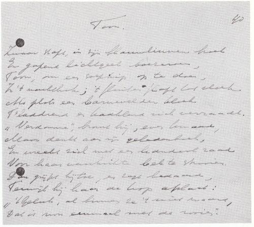Handschrift gedicht Toon - Willem de Mérode - 14-08-1936