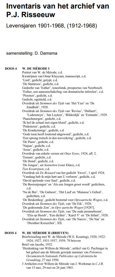 Inventaris Archief Risseeuw - stukken De Mérode