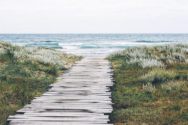 voetpad, duinen, zee